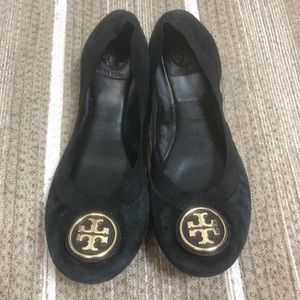 Tory Burch Black Suede Flats Size 9.5